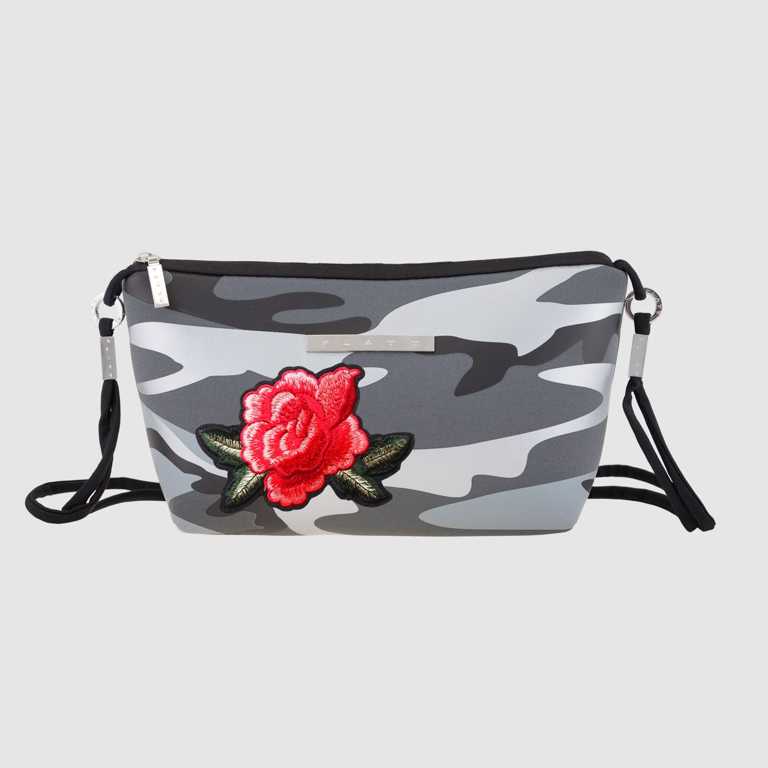 2a13cc0c5b25 Crossbody bag CAMOUFLAGE WITH ROSE Silver - F L A T T